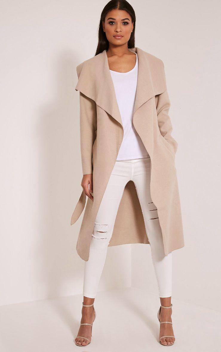Veronica Beige Oversized Waterfall Coat