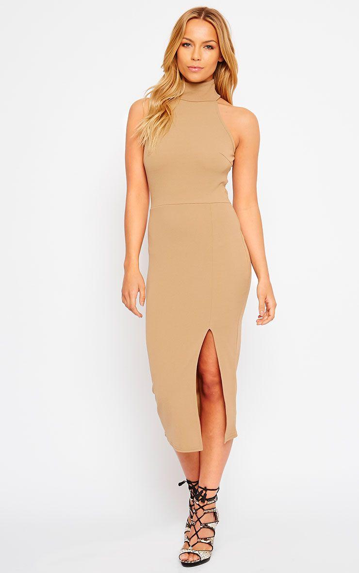 Gabi Camel High Neck Split Front Dress 1