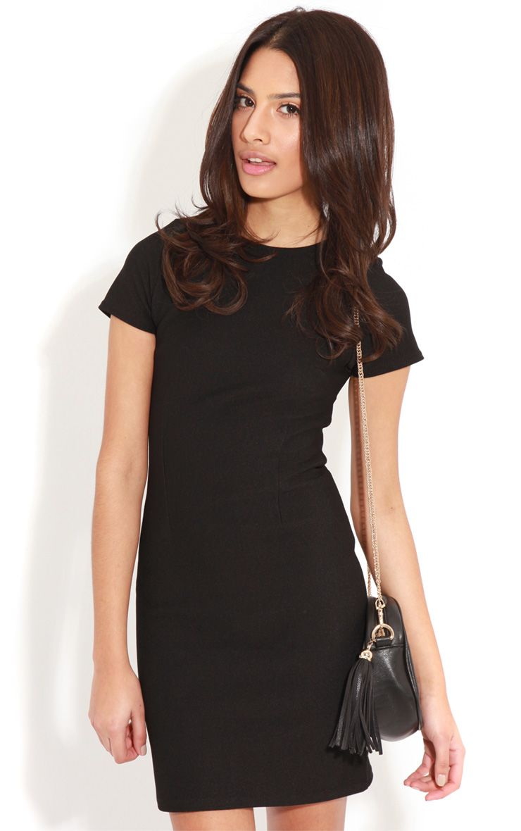 Lillie Black Ribbed Bodycon Mini Dress-6 1
