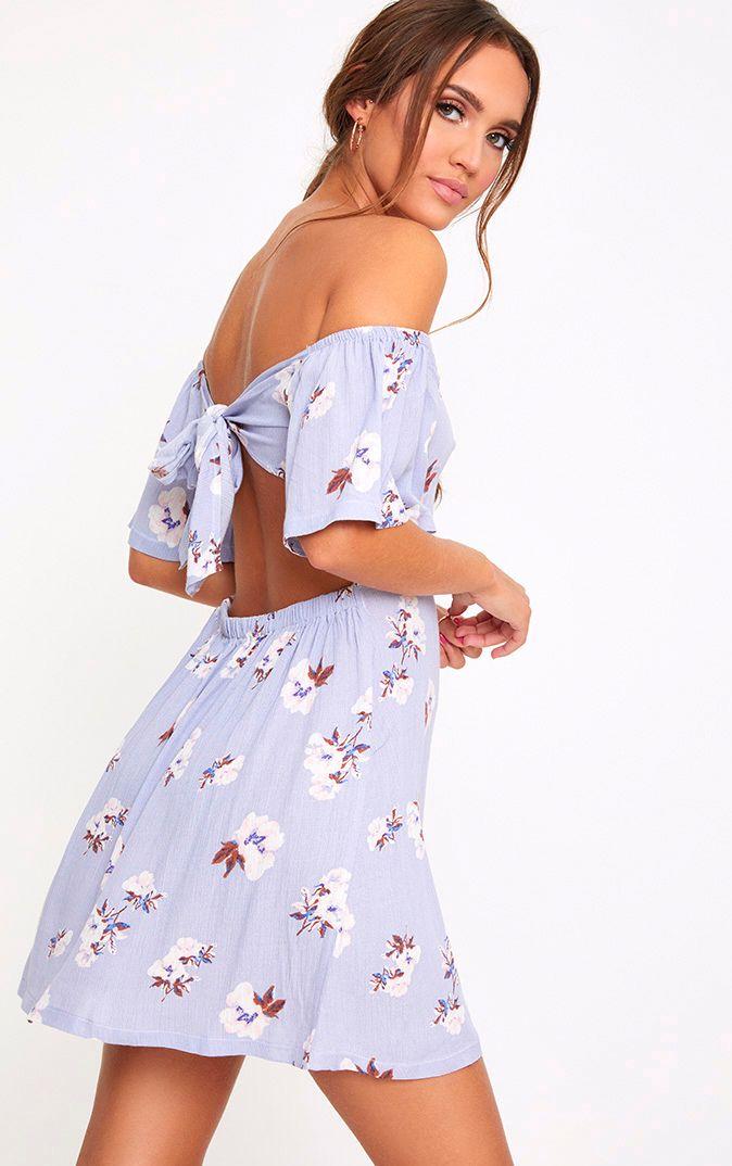 Robe droite lilas à fleurs en étamine