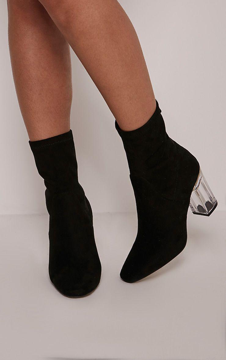 Killah Black Faux Suede Perspex Heel Boots 1