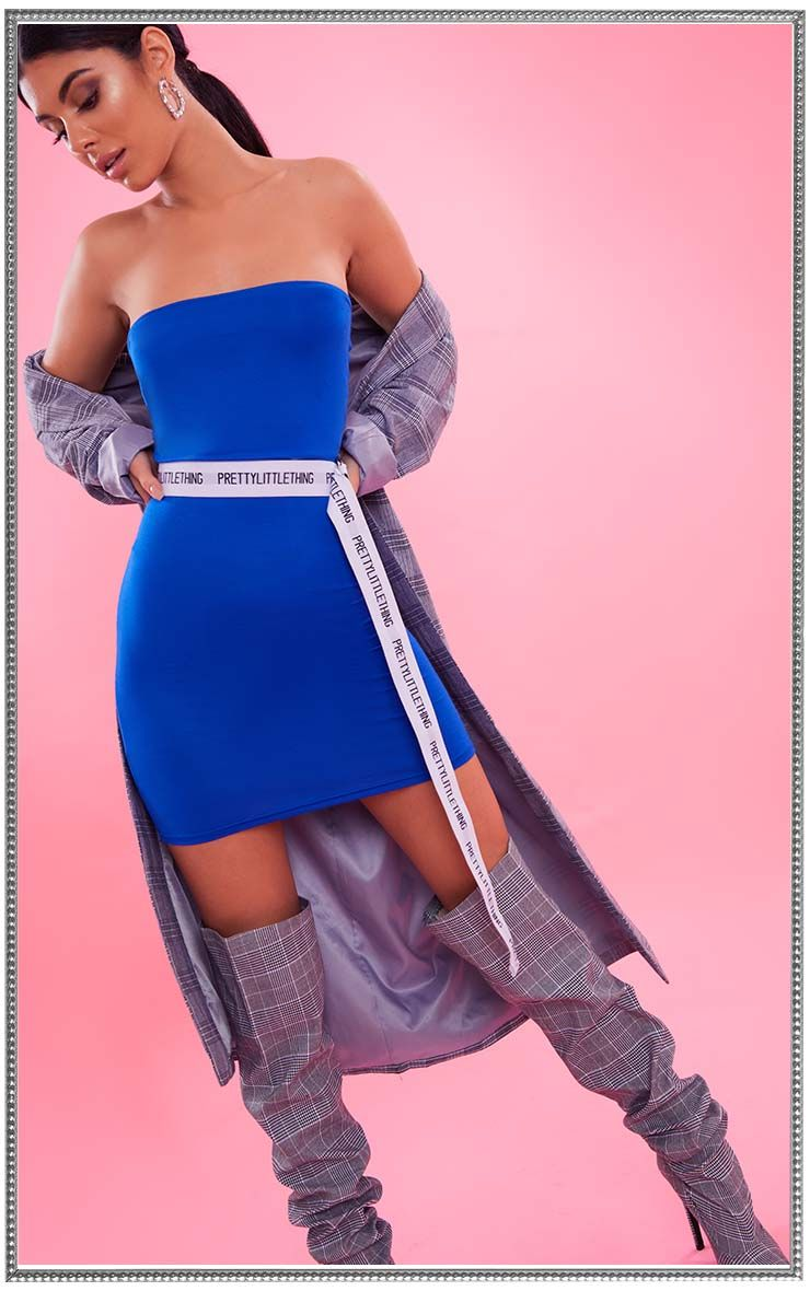 Cobalt Bandeau Bodycon Dress