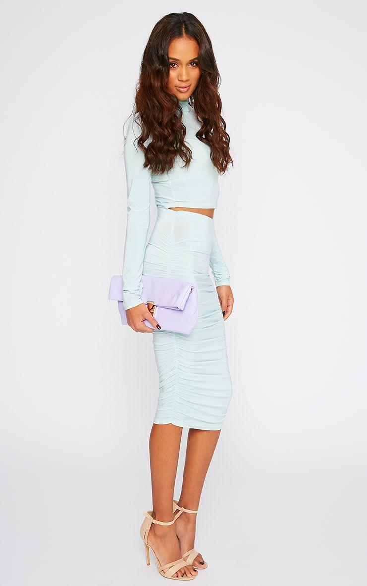 Saylor Mint Slinky Gathered Midi Skirt 1