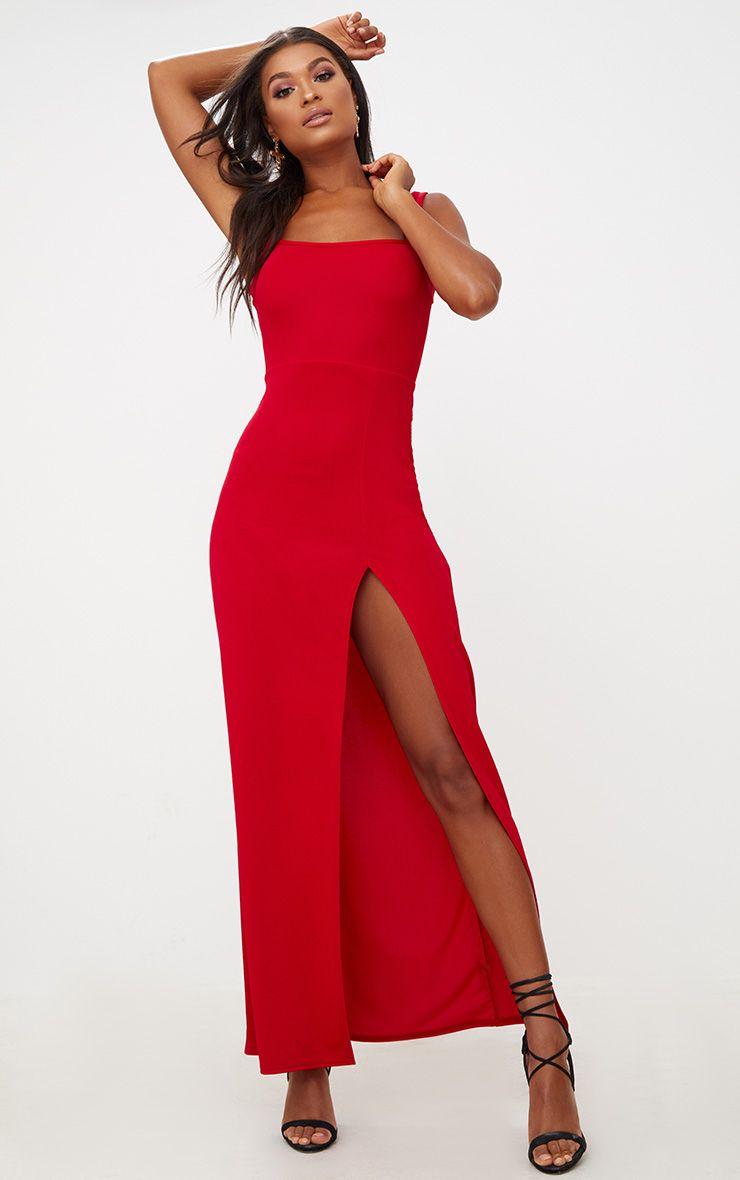 Red Straight Neck Maxi Dress