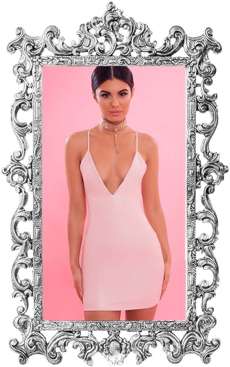 Dusty Pink Plunge Front PU Bodycon Dress 1