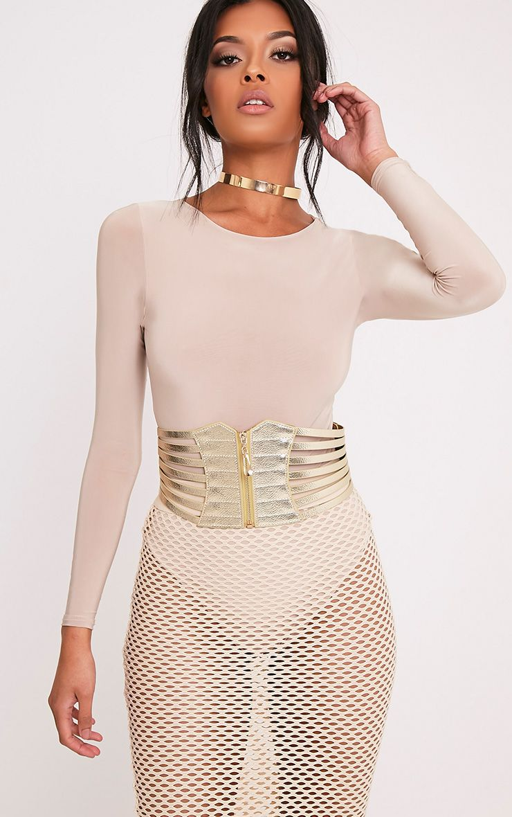 Kimie Gold Zip Detail Corset Style Belt