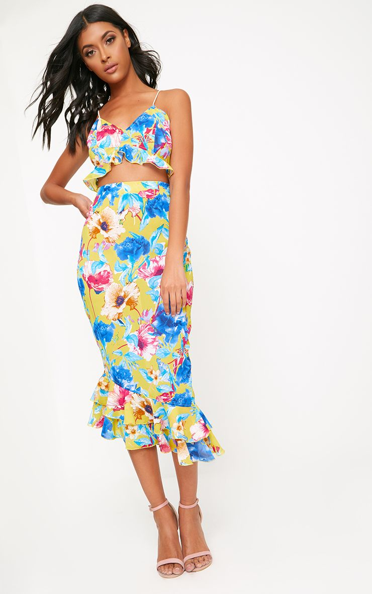Yellow Strappy Floral Cut Out Midi Dress
