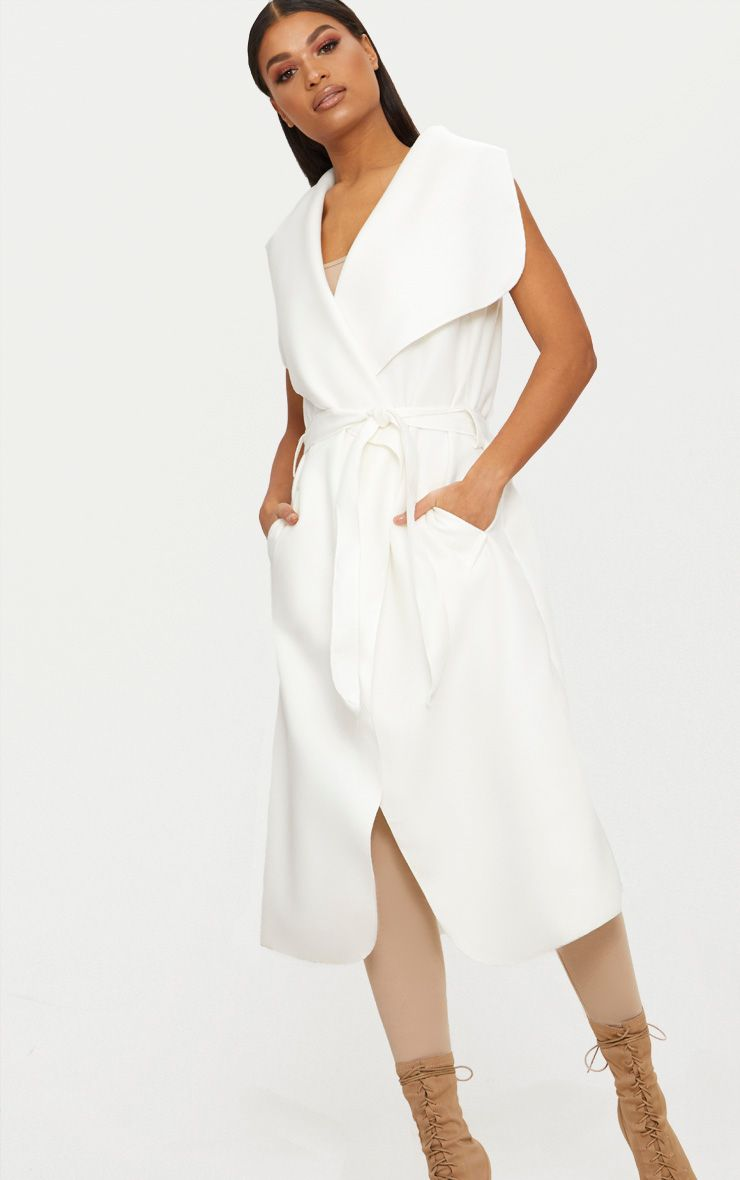 White Sleeveless Waterfall Coat Belted Coat