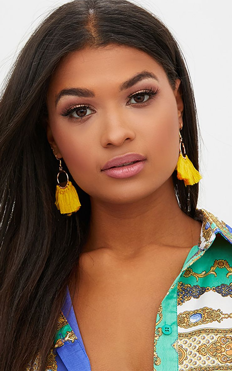 Yellow Drop Fan Tassel Earrings