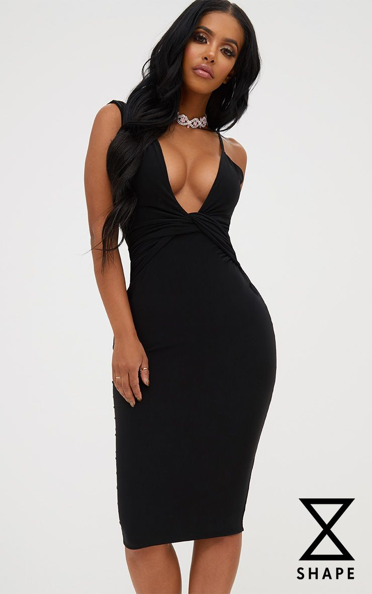 Shape Black Knot Front Plunge Midi Dress