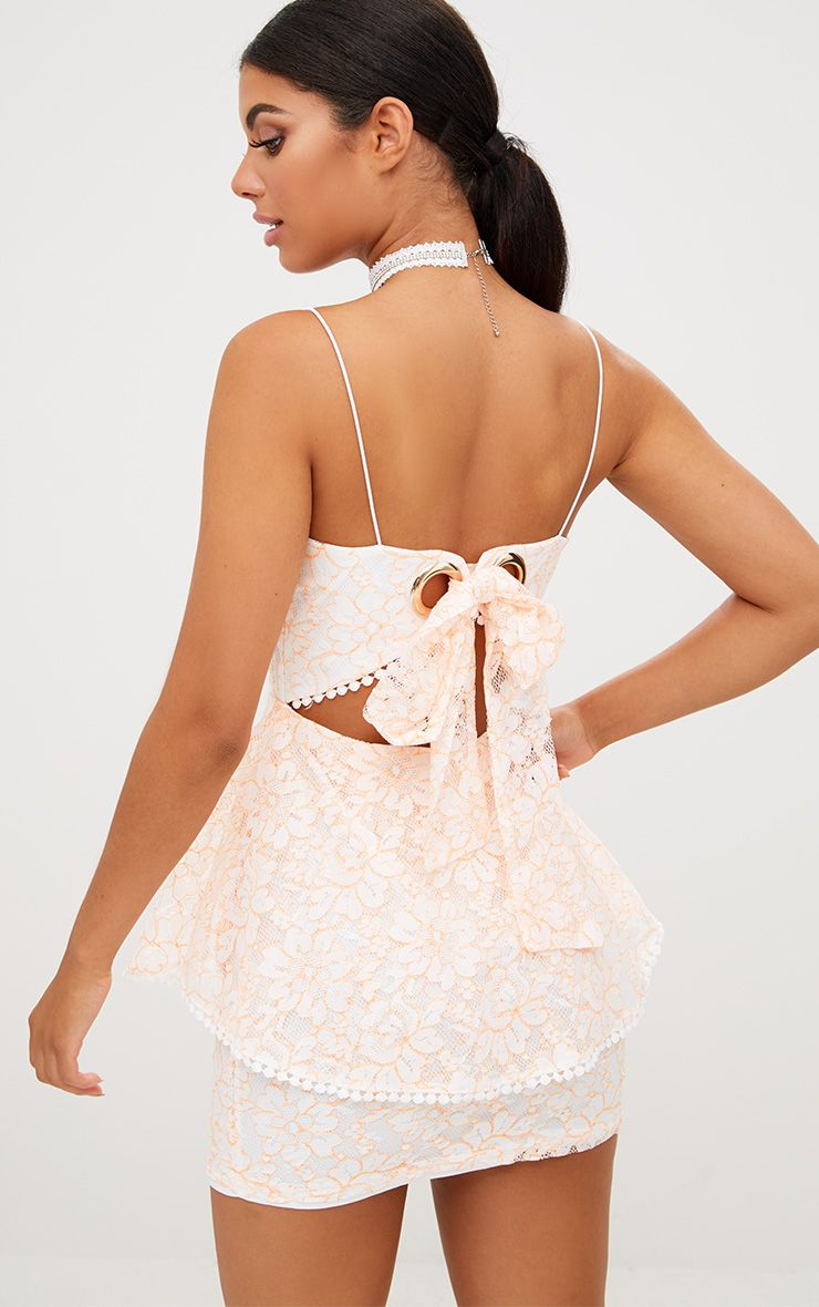 White Frill Hem Lace Bodycon Dress Pretty Little Thing Outlet Shopping Online Professional Cheap Online Very Cheap Cheap Online Purchase Your Favorite TpWMT07Du