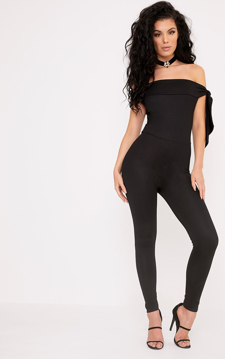 Lanesha Black Crepe Bardot Tie Jumpsuit