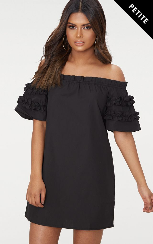 Petite Black Ruffle Sleeve Bardot Shift Dress