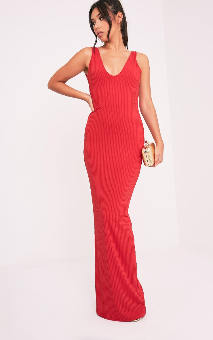 Decota Red Ribbed Plunge Maxi Dress