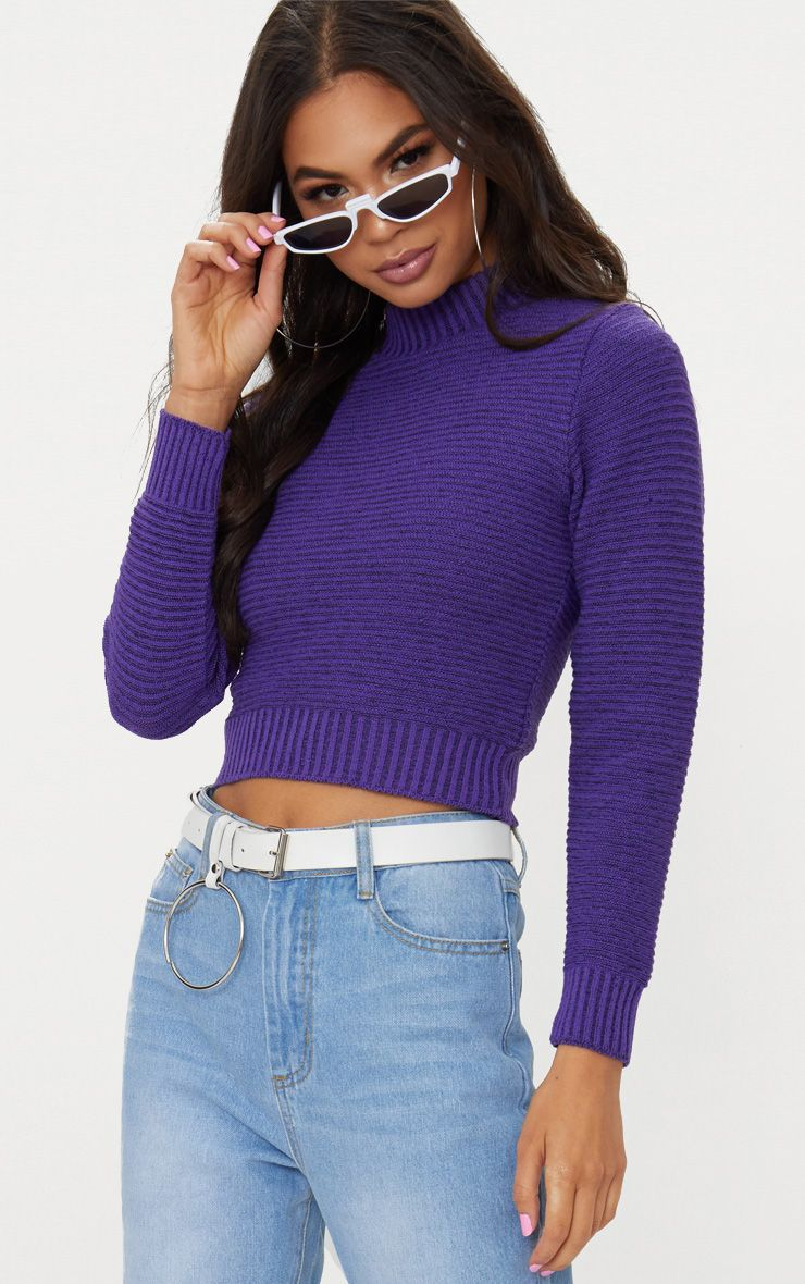 Purple Ribbed Cropped Knitted Jumper