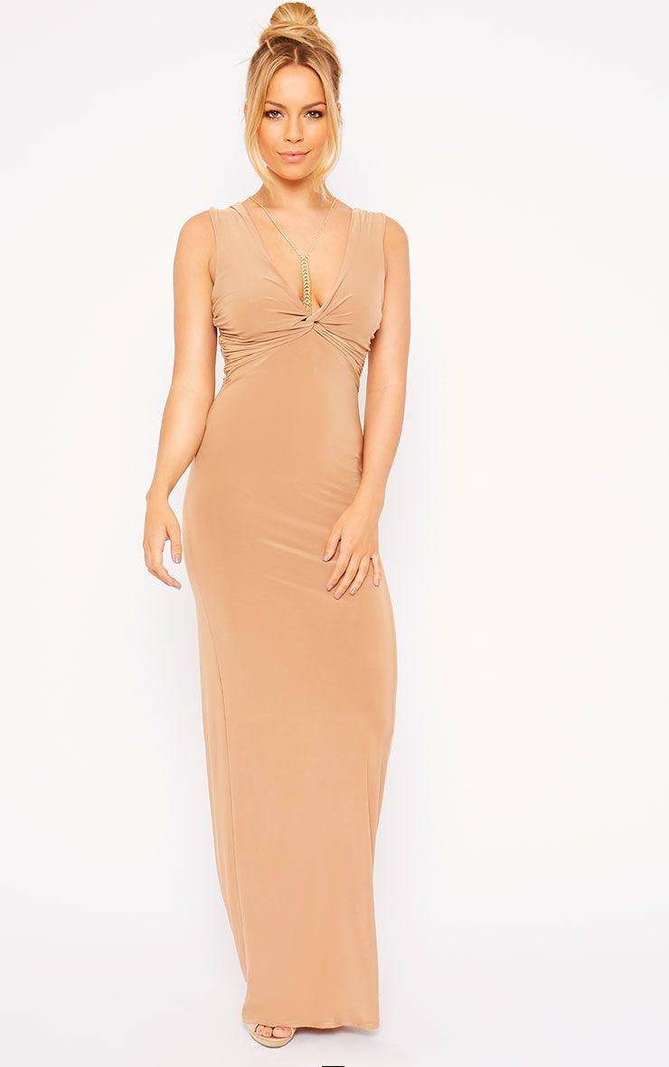 zena camel knot front slinky maxi dress - dresses