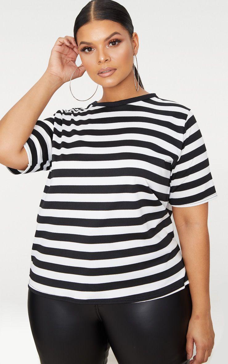 Plus Black Striped T Shirt 1