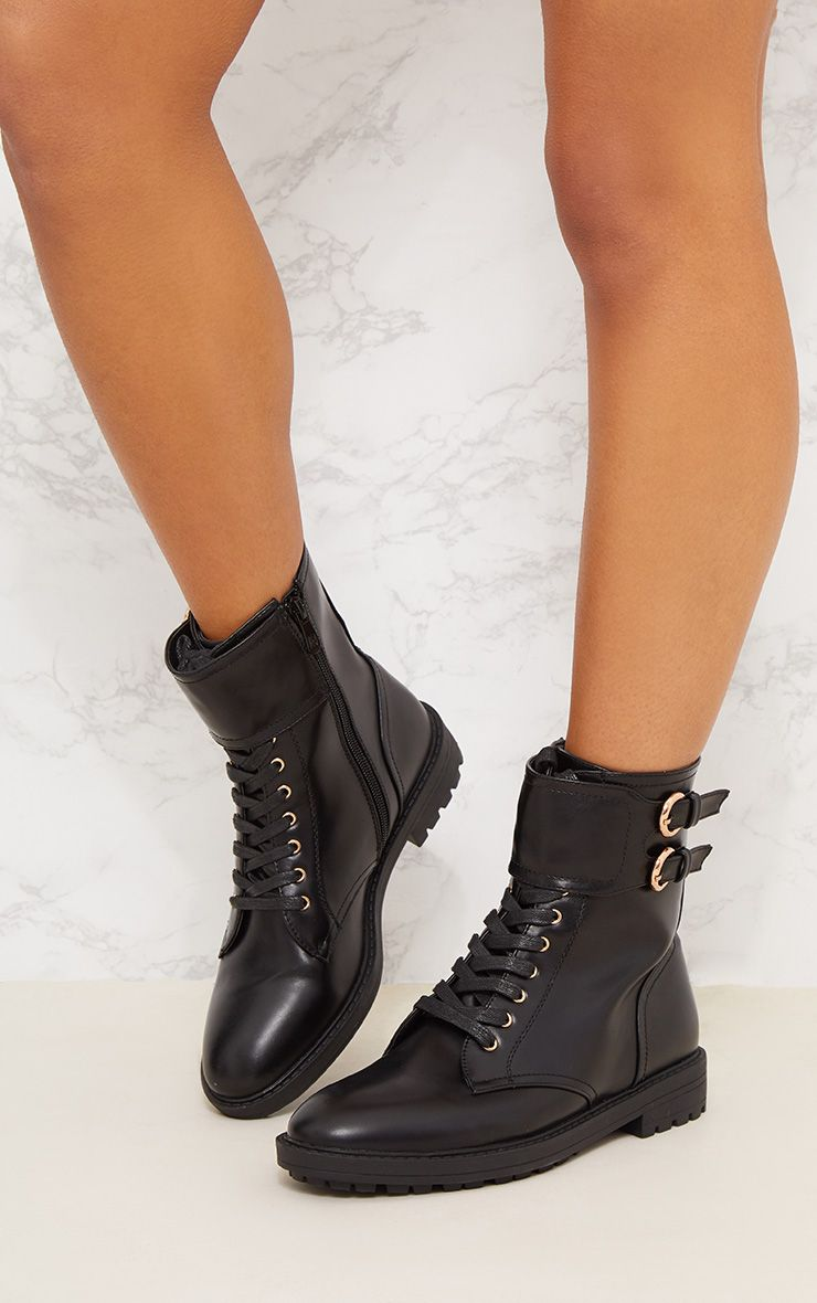 Black Ankle Buckle Hiker Boot Shoes Prettylittlething