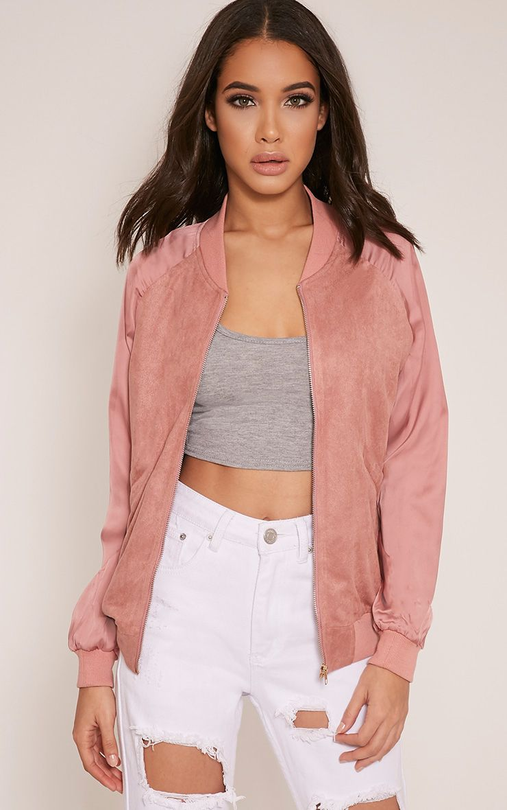 Ivy Rose Faux Suede Contrast Sleeve Bomber Jacket 1