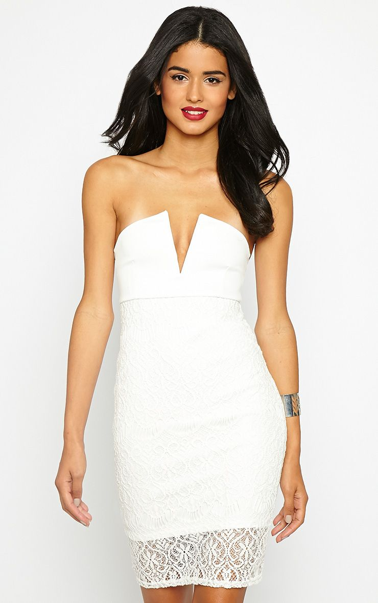 Georgiana Ivory Plunge Bandeau Lace Dress 1
