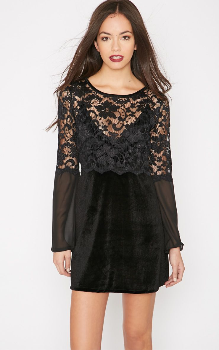 Bellatrix Black Velvet Lace Baby Doll Dress 1