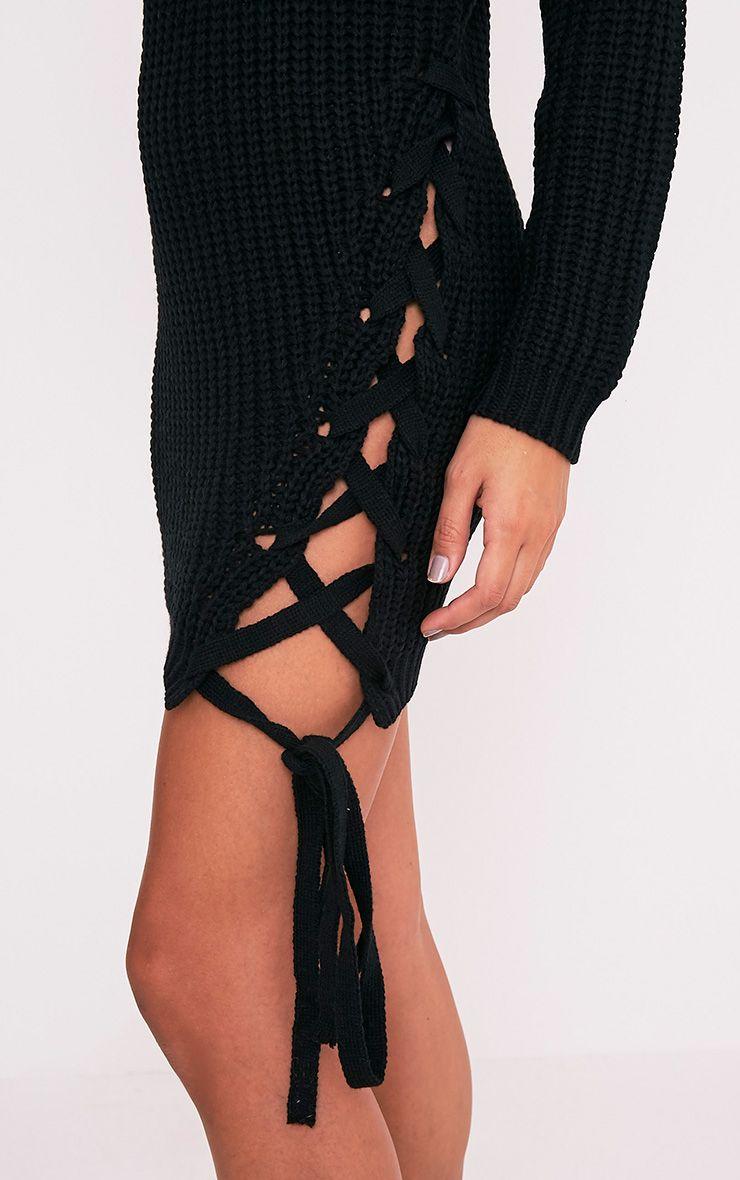 Millia pull surdimensionné noir à col roulé et lacets sur le côté 6