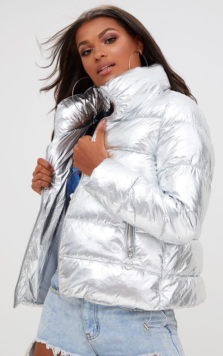 Silver Foil Puffer Jacket