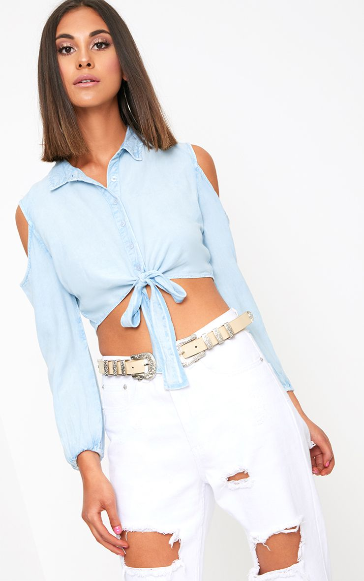 Light Wash Cold Shoulder Crop Denim Top