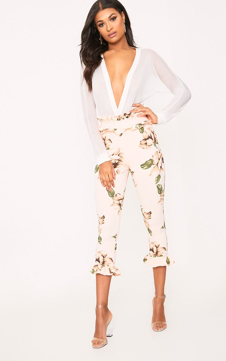 Blush Floral Frill Trim Trousers 1