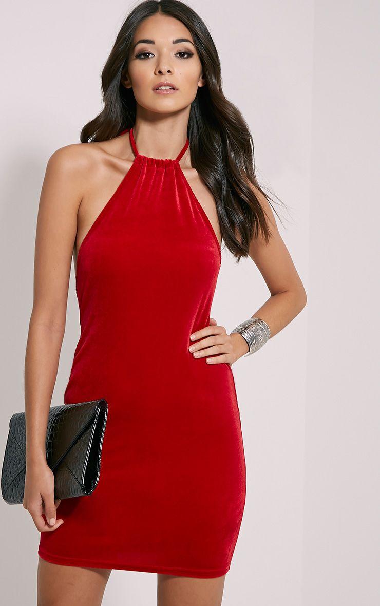 Marlee Red Velvet Mini Dress 1