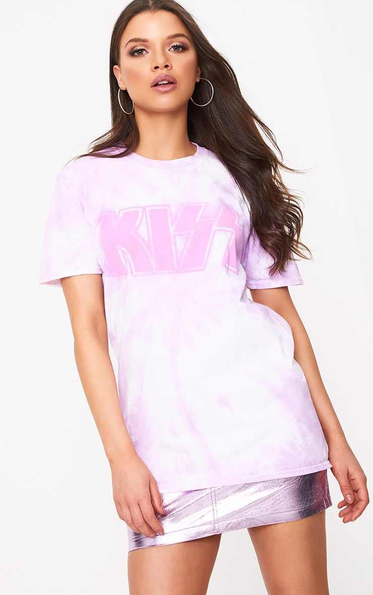 KISS License Pink Wash Print T Shirt