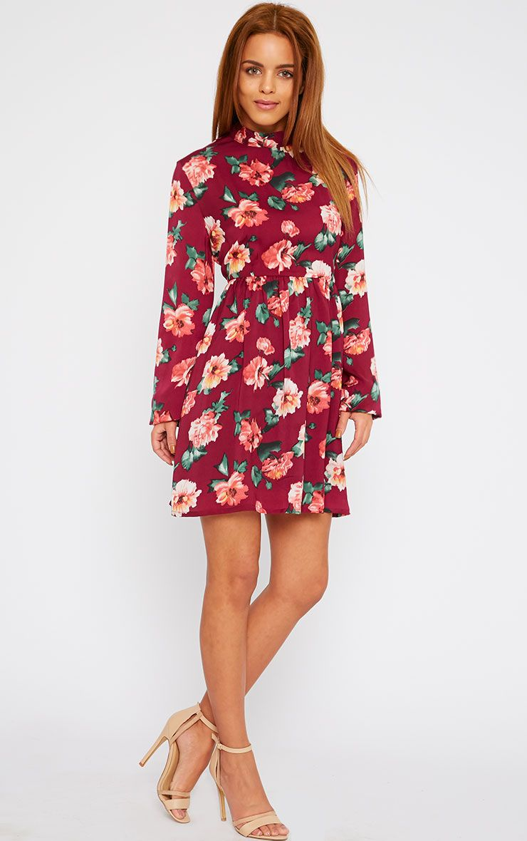 Jules Floral High Neck Babydoll Dress 1