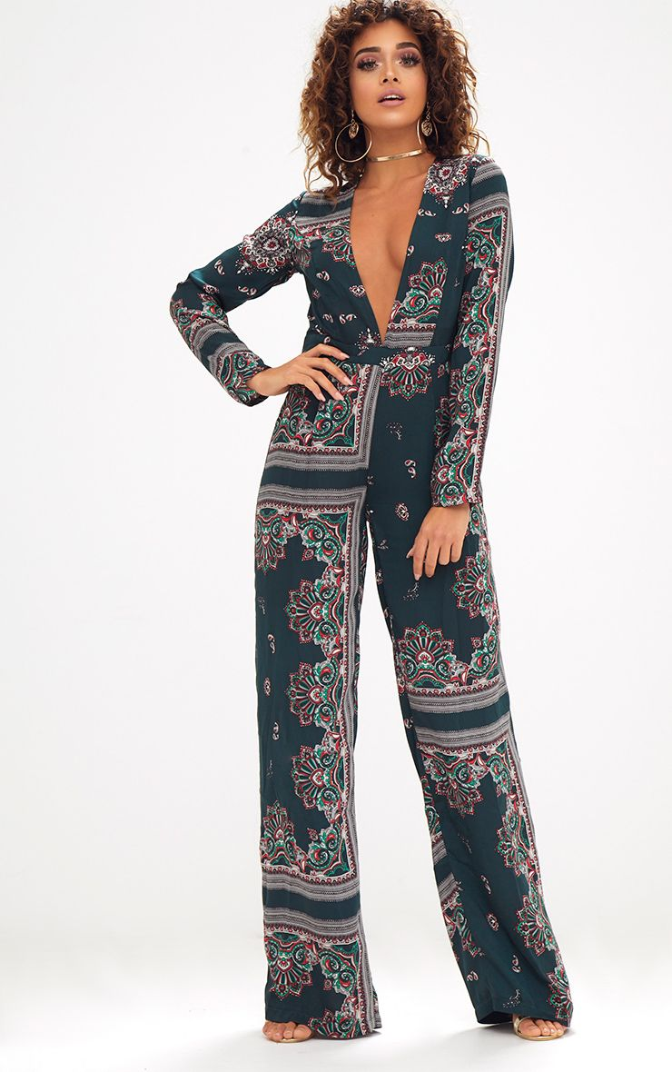 Forest Green Scarf Print Long Sleeve Plunge Jumpsuit