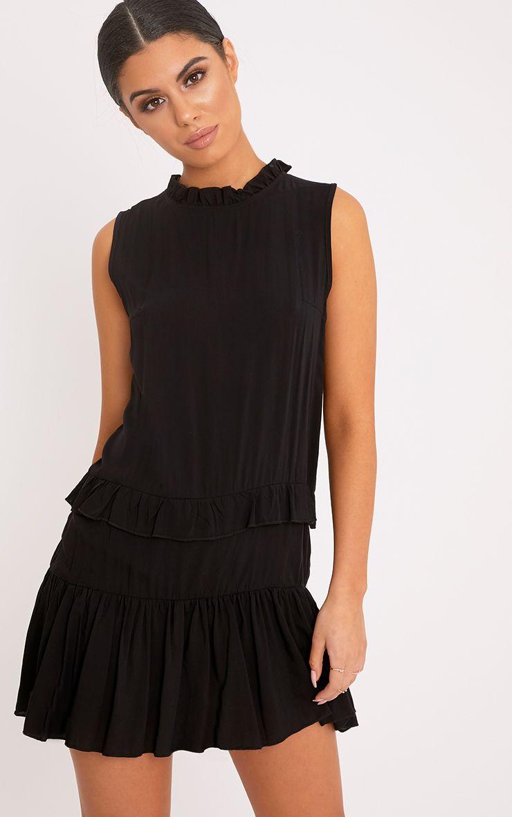 Imogen Black High Neck Frill Swing Dress