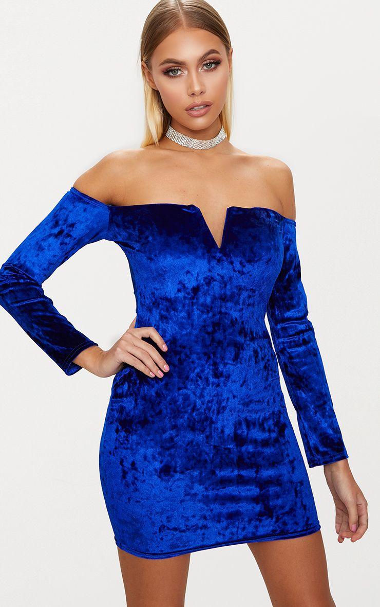 Cobalt Velvet V Bar Bardot Bodycon Dress