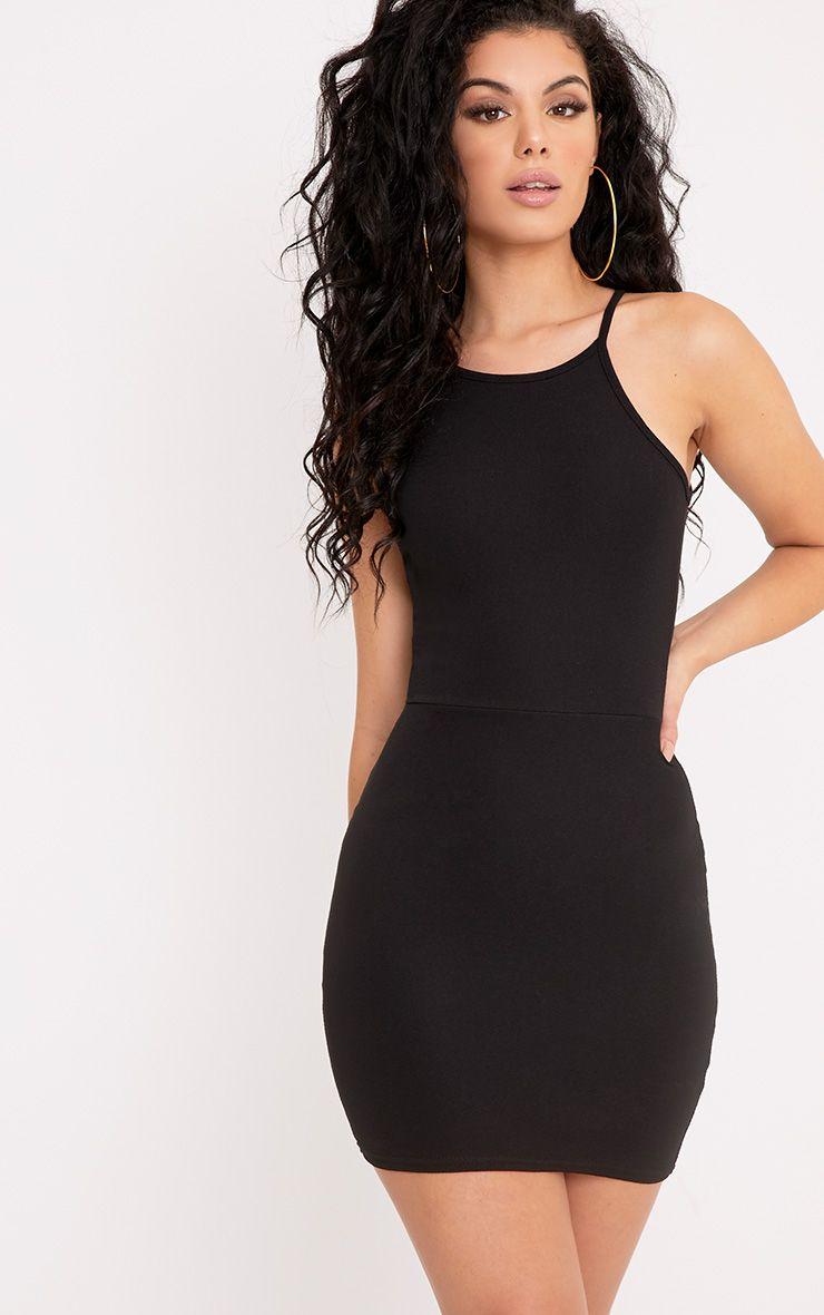 Elouise Black Strappy Bodycon Dress