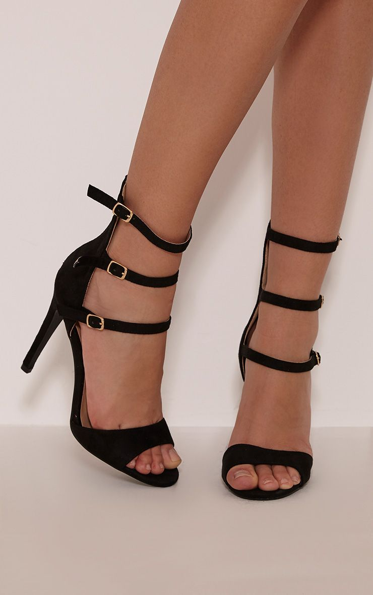 Riah Black Faux Suede Multi Strap Heeled Sandals