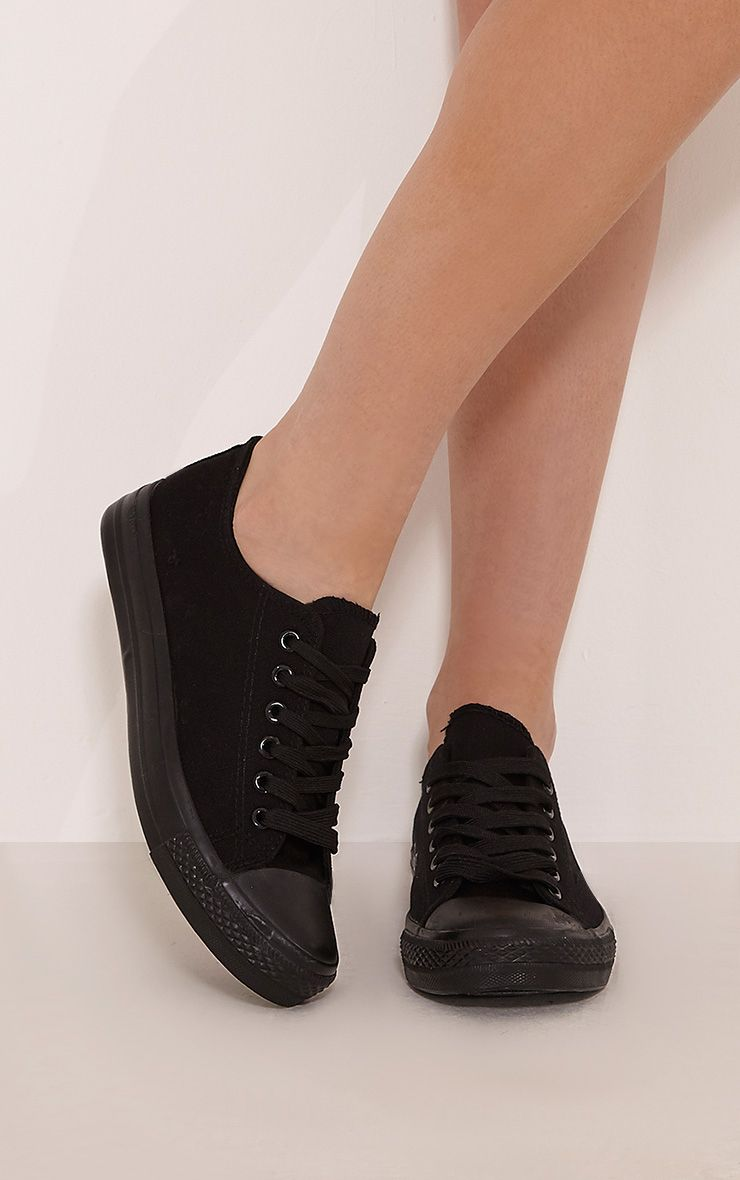 Clio Black Canvas Casual Lace Up Trainers 1