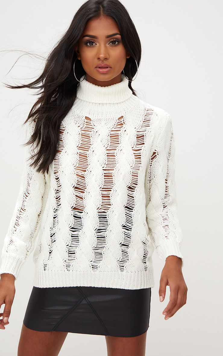 Cream Roll Neck Distressed Knitted Jumper