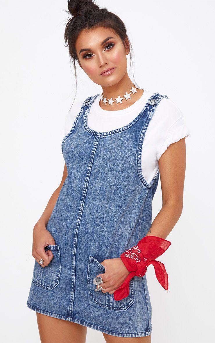 Mid Wash Pocket Front Denim Pinafore Dress