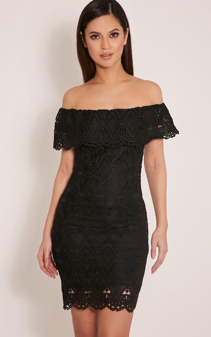 Bonnie Black Bardot Lace Bodycon Dress 1
