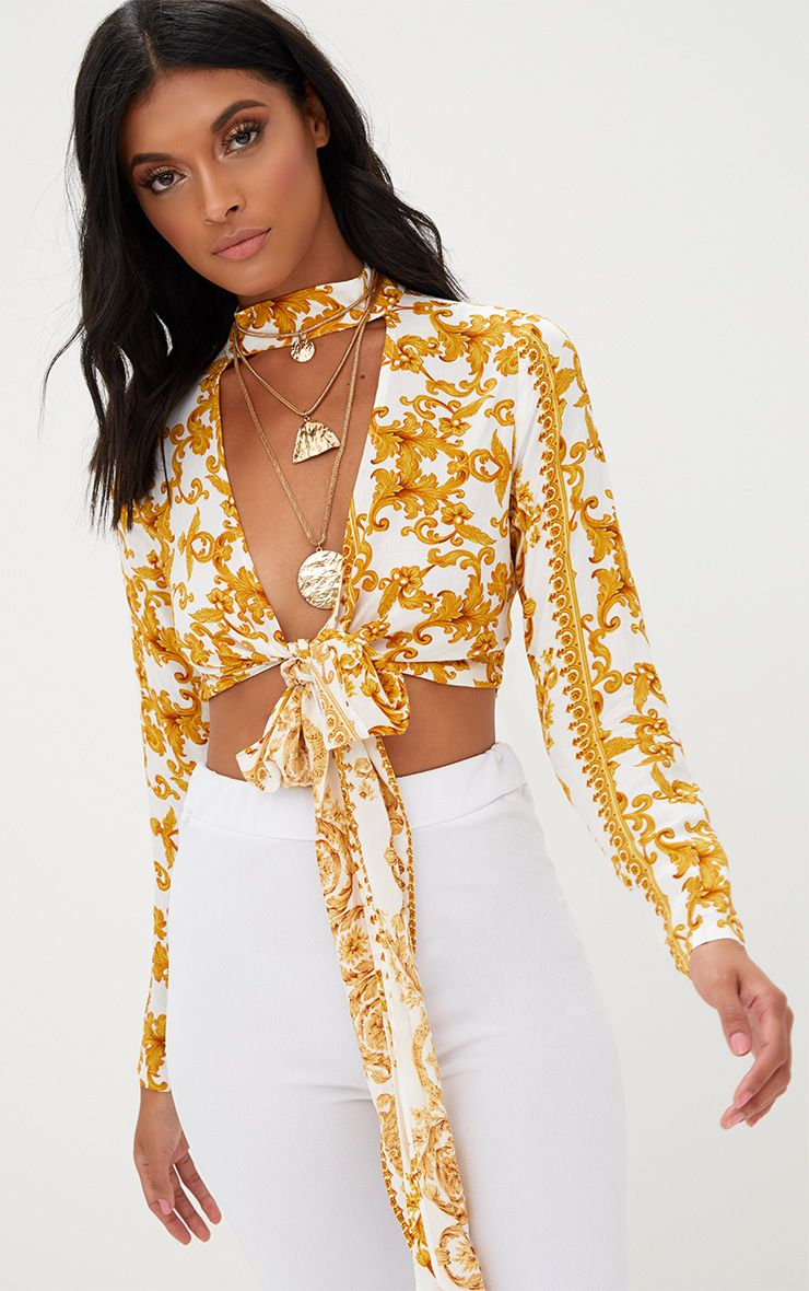 Beckette White Baroque Print Plunge Tie Front Choker Blouse