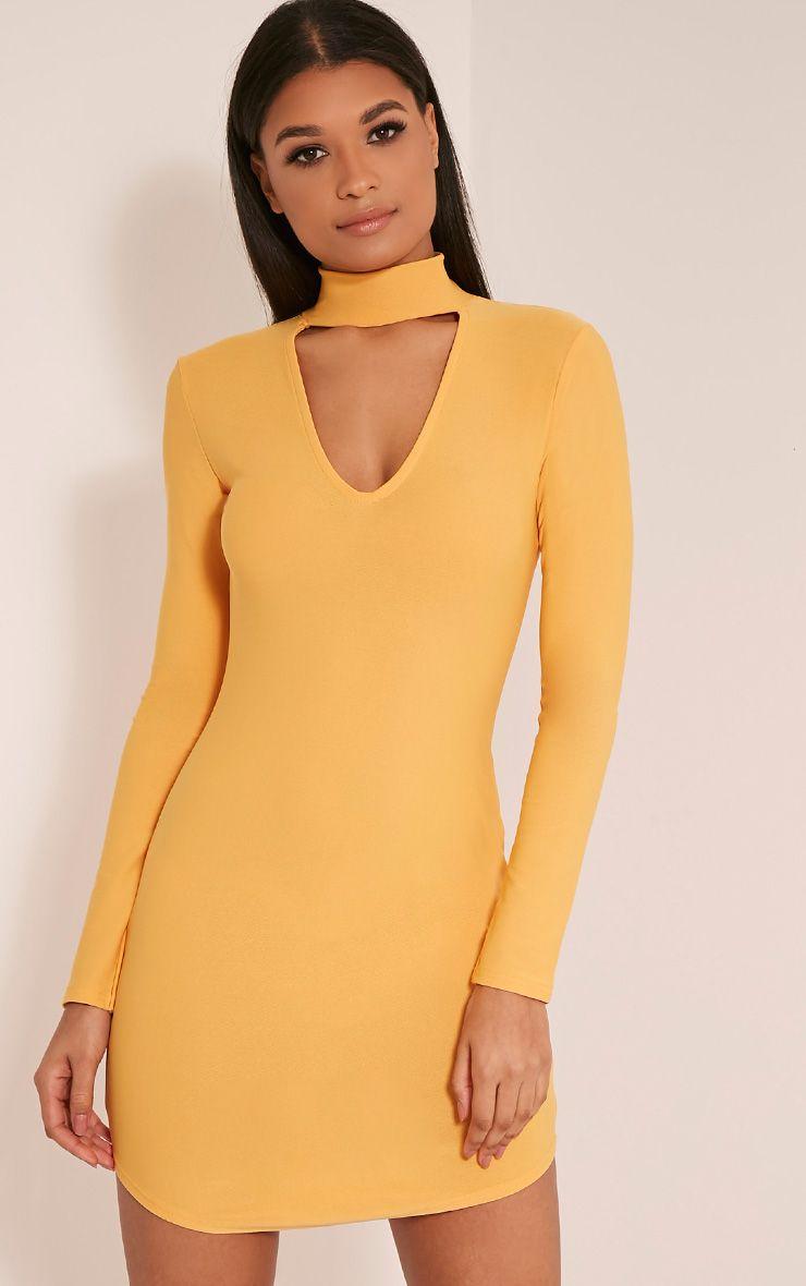 Arianna Pastel Orange Crepe Choker Detail Bodycon Dress 1