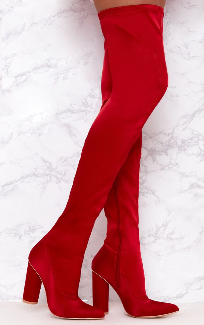Red Stretch Satin Sock Thigh High Boots