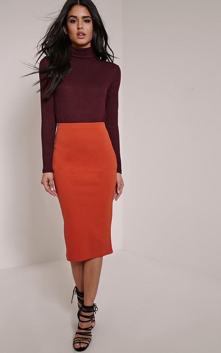 Rhian Rust Scuba Midi Skirt 1