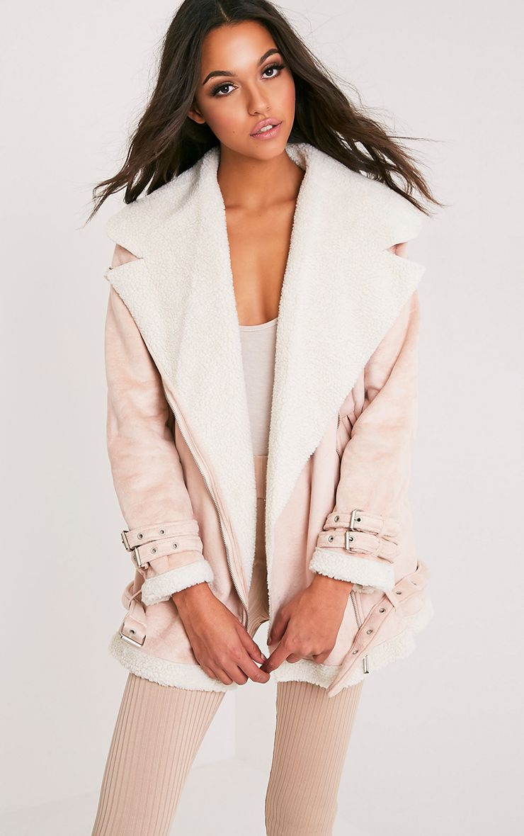 Simmi Blush Faux Suede Oversized Aviator Jacket