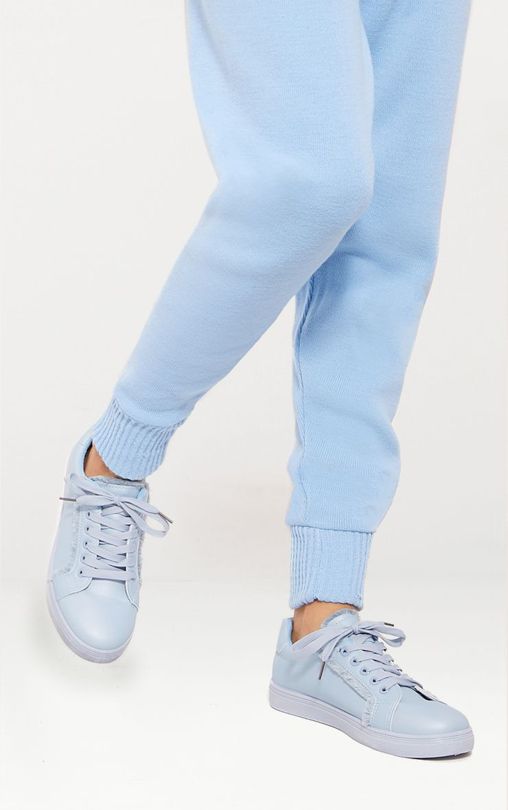 Dusty Blue Frayed Edge Lace Up Sneakers