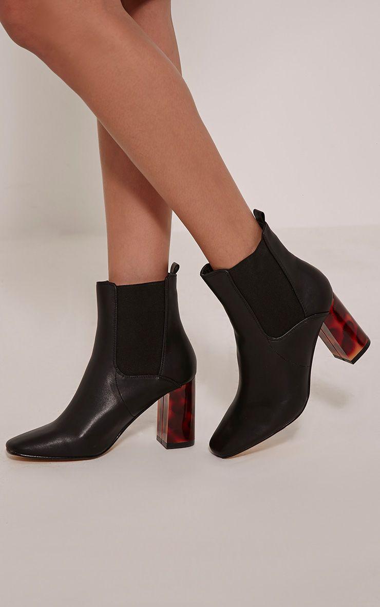 Lovia Black Tortoise Shell Block Heel Ankle Boot 1