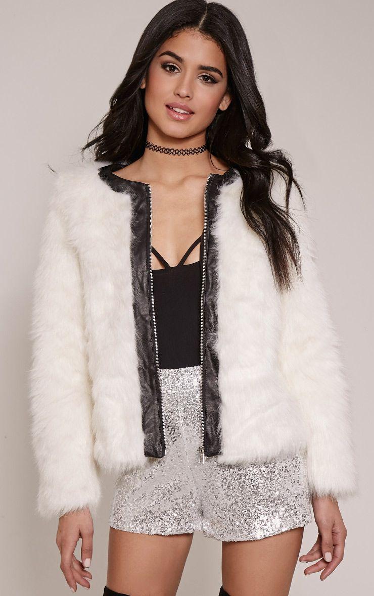 Harley White Faux Fur PU Trim Jacket 1