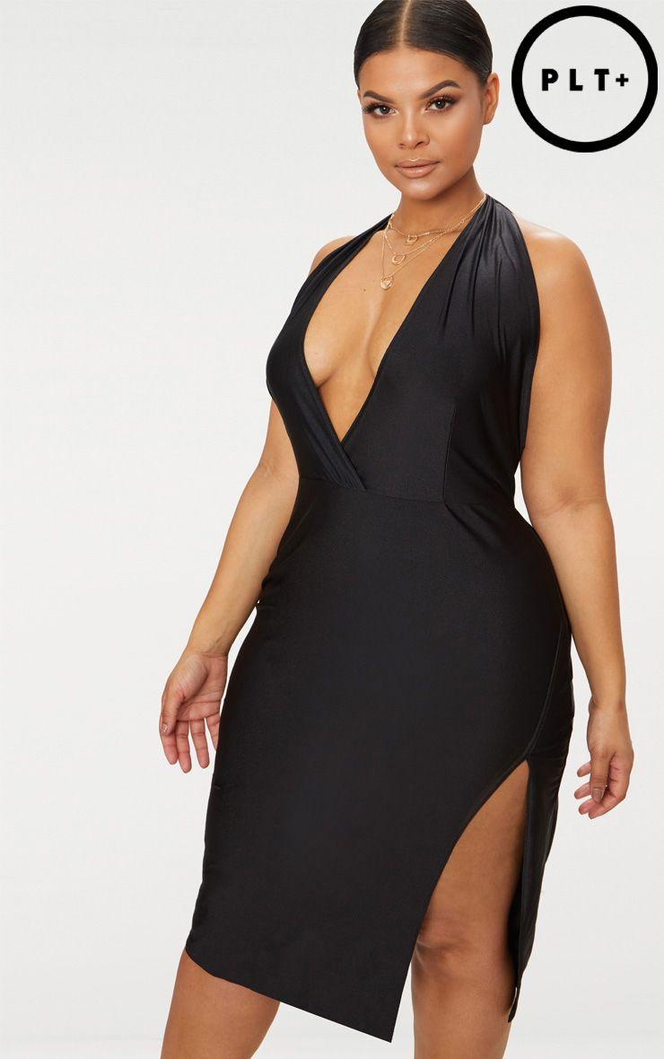 Plus Black Disco Slinky Halterneck Midi Dress